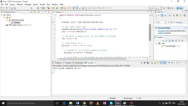 Java program that outputs the quantity of prime numbers