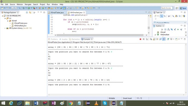 CIS 181: Object-Oriented Programming II Finding the K-th Smallest Item in an Array