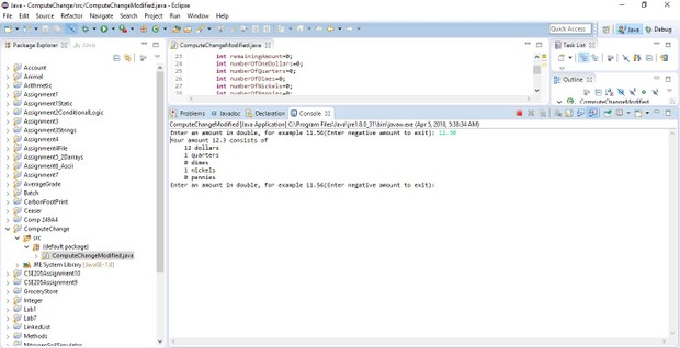 ComputeChange Modified program Solution