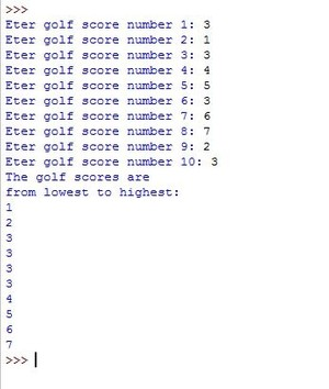 Design a program that asks the user to enter 10 golf scores Solution