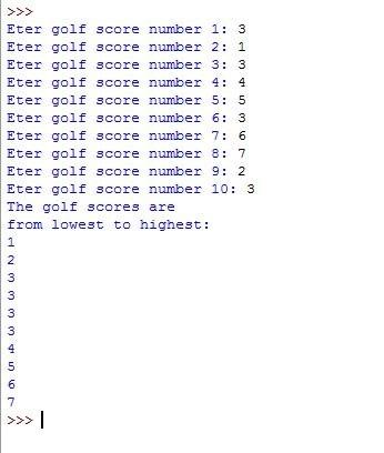 Design a program that asks the user to enter 10 golf scores Solution