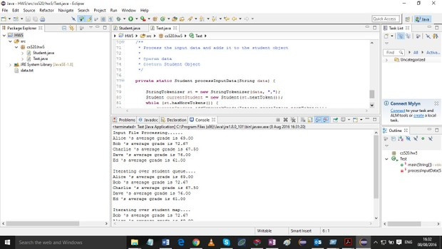 Create a new Java Project in Eclipse named HW5_lastName solution