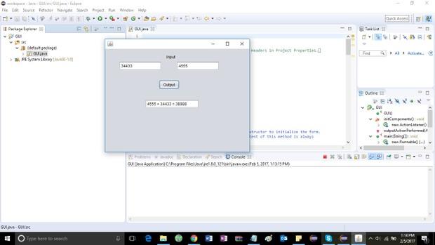 Program that creates a GUI