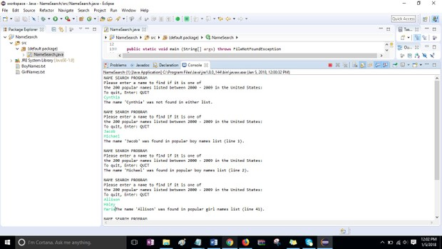 Module 07 Post-Assessment Part 2  Name Search Solution in Java