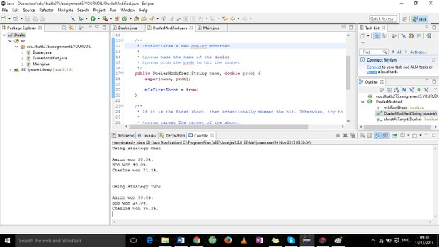Write a Java application to simulate the duel using this strategy.