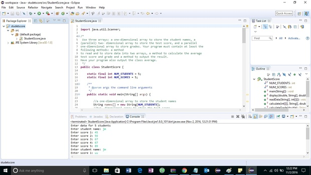 program to calculate students average test scores and their grades solution