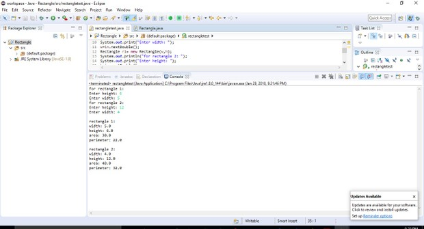 Design a class name Rectangle to represent a rectangle in Java