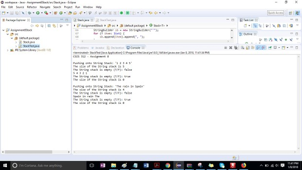 CSIS 312 Assignment 8 Stack Data Structure Solution