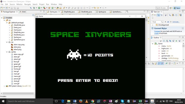 a space invader type game