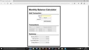 Monthly Balance Calculator