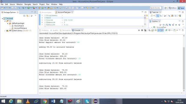Description : Modify Account Class: Figure 3.8 & 3.9