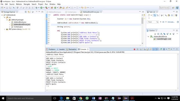 Programming: Address book Solution