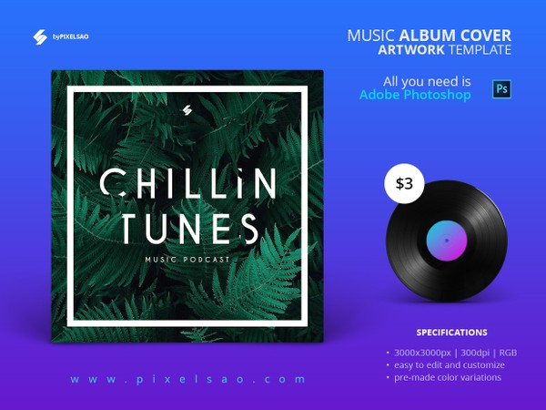 Chillin Tunes - Music Album Cover Template