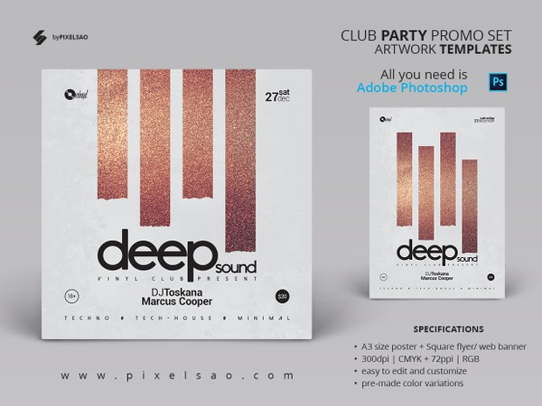 Deep Sound - Minimal Party Flyer / Poster Artwork Template
