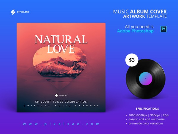 Natural Love - Music Album Cover Artwork Template