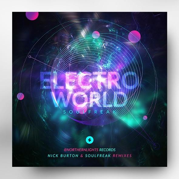 Electro World – Music Album Cover Artwork Template