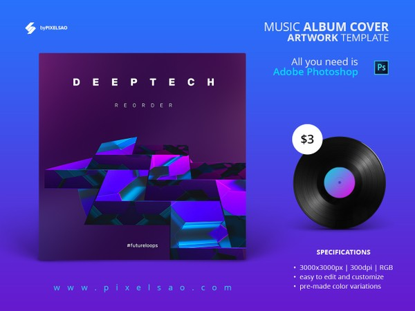 Deeptech - Music Album Cover Artwork Template