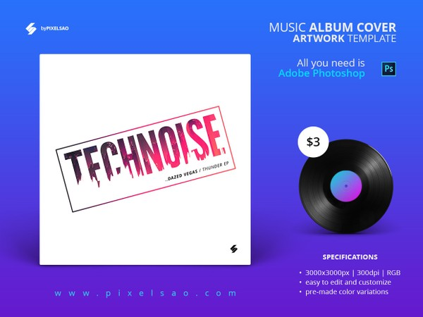 Technoise - Music Album Cover Artwork Template