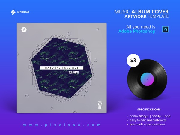 Minimal Album Cover Artwork Template - Natural Feelings