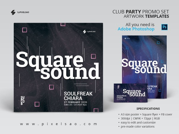 Square Sound - Minimal Party Flyer / Poster / Facebook Cover Templates Set