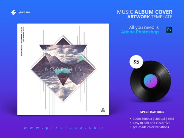 Borealis - Music Album Cover Artwork Template