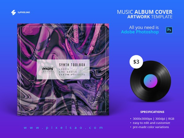 Abstract Synth - Album Cover Artwork Template