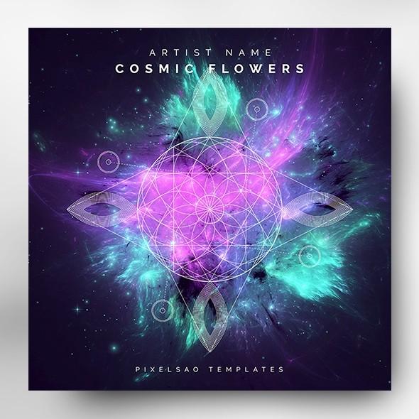 Cosmic Flowers – Music Album Cover Artwork Template