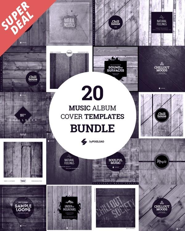 20 Music Album Cover Templates Bundle - #WOOD