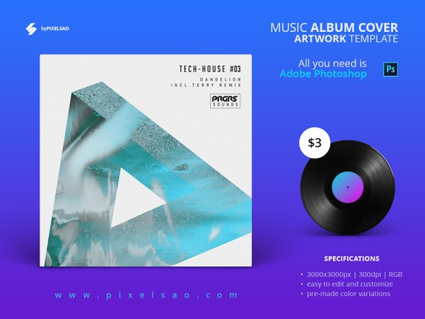 Tech-house #03 - Album Cover Artwork Template