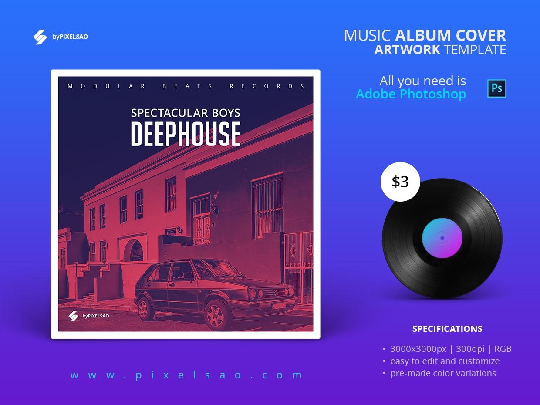 Deep House Album Cover Psd Template Pixelsao Templates