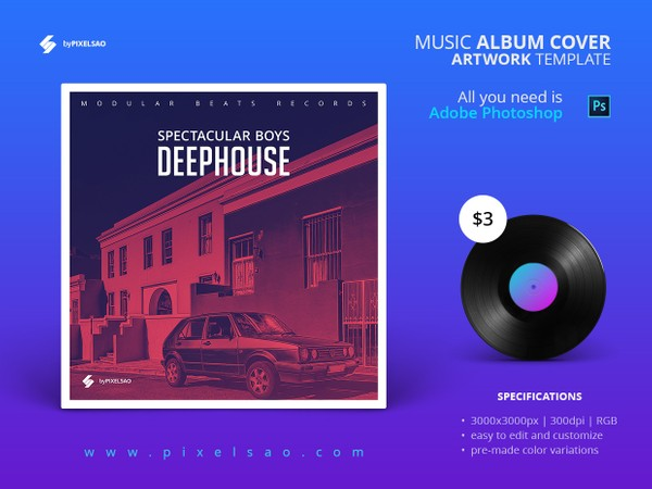 Deep House - Album Cover PSD Template