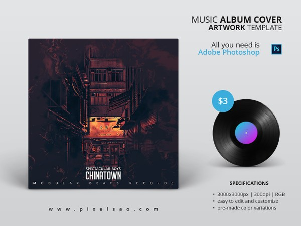 CHINATOWN - Music Album Cover Artwork Template