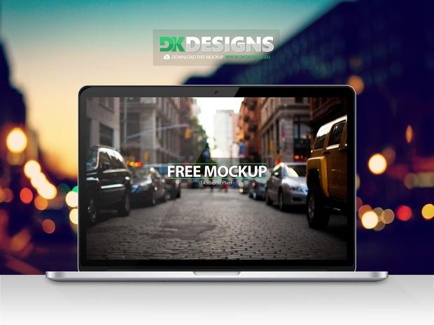 Macbook Pro Retina Mockup incl. 4 Backgrounds