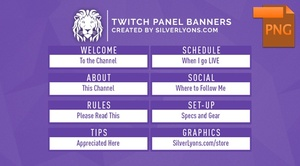 FREE | Purple Nametag Twitch Panel Banners