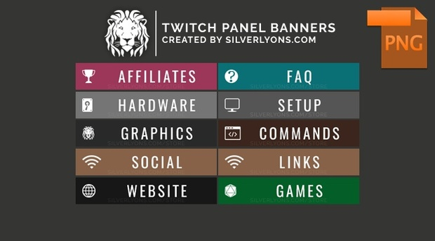 All Color Twitch Panel Banners