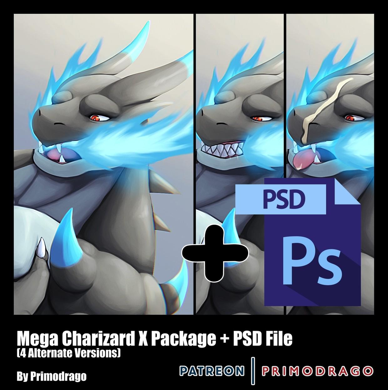 Mega Charizard X Artpack + PSD File