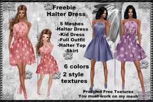 Halter dress provided free textures