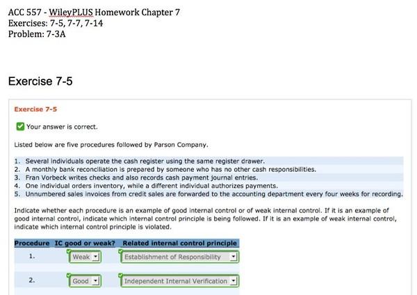 ACC 557 - WileyPLUS Homework Chapter 7