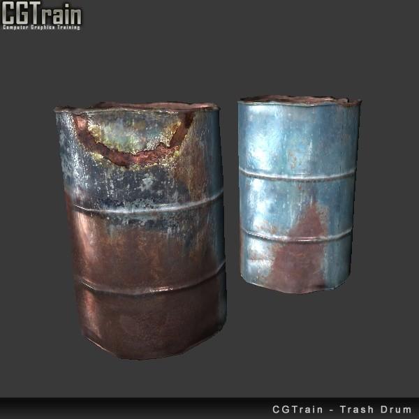 Old damaged trash drum