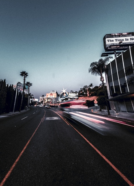 Los Angeles Street with sunrise - Photoshop - Adobe camera raw preset
