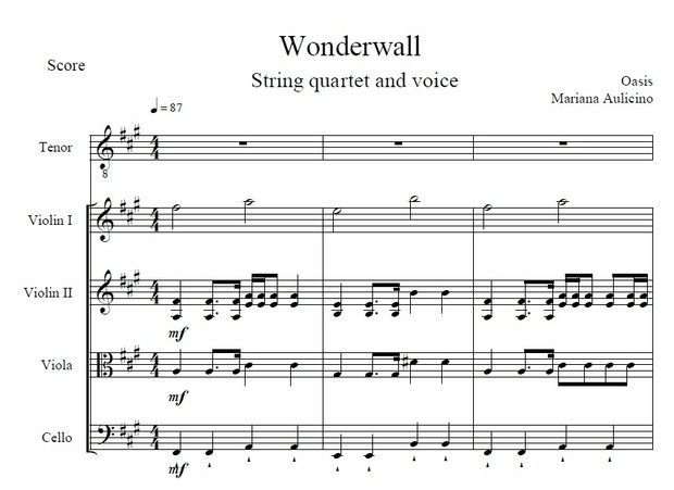 Wonderwall - Oasis - String Quartet + Vocals