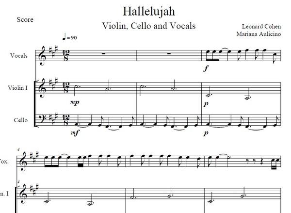 Hallelujah - Leonard Cohen - String Duet (With vocals)