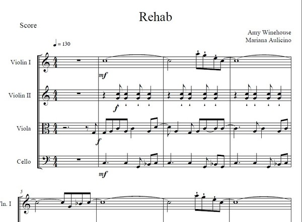 Rehab - Amy Winehouse - String quartet