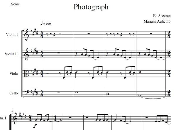 Photograph - Ed Sheeran - String quartet