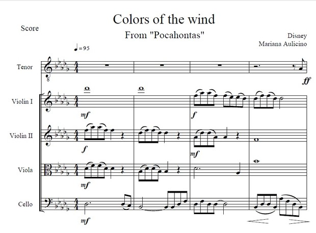Colors of the wind - Pocahontas (Disney) String quarte