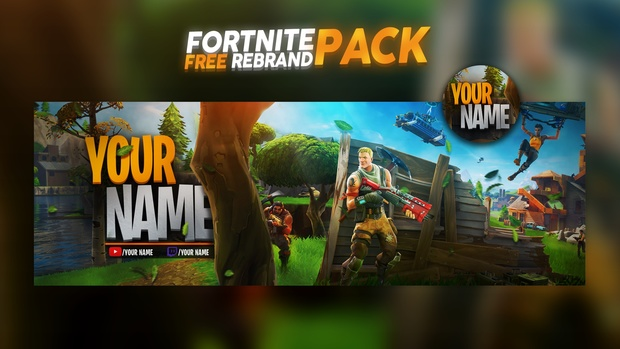 Fortnite Social Media Rebrand Pack (YouTube Banner, Twitter Header,  Logo/AVI)