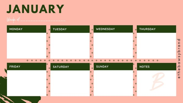 Weekly Content Calendar