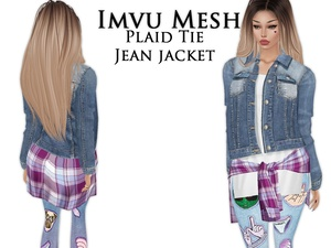 IMVU Mesh - Tops - Plaid Tie Jean Jacket