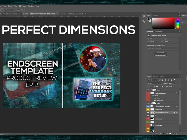 New YouTube End Screen Photoshop Template v 1.0 (.psd file instant download)