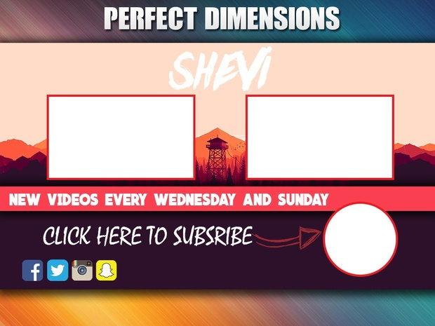youtube end screen photoshop template psd file insta